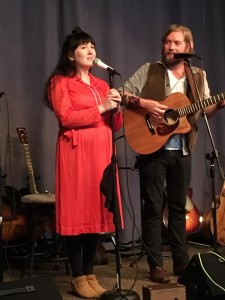"Madi Goldsmith and Will De Lance of the Glue Horses performing at Steve Hettum's ""Wake While I'm Awake."""